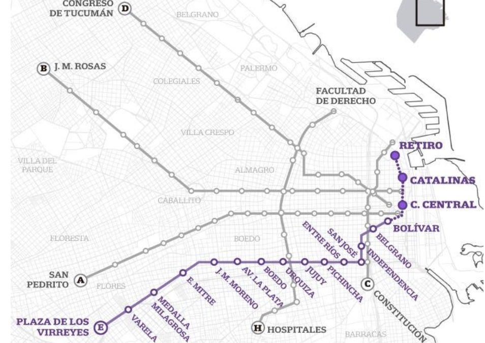 "THE EXTENSION OF LINE ""E"" OF THE BUENOS AIRES METRO WAS INAUGURATED"